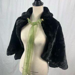 Vintage Faux Fur Capelet for Winter Wedding, Gala